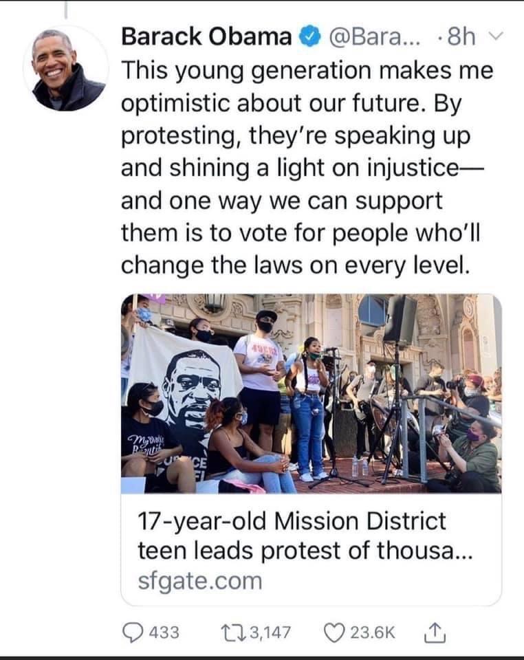 President Barack Obama Tweets About Mission Protest.